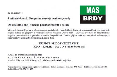 Pozvánka MAS Brdy – Program rozvoje venkova 2014-2020