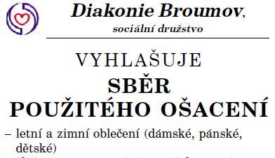 Sběr použitého ošacení 5. – 6. 11. 2015 –  Diakonie Broumov