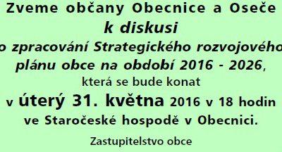 Pozvánka na diskusi o zpracování Strategického rozvojového plánu obce