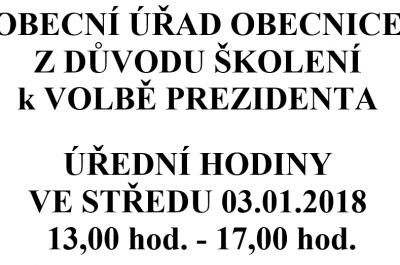 Úřední hodiny OÚ Obecnice ve středu 3. 1. 2018