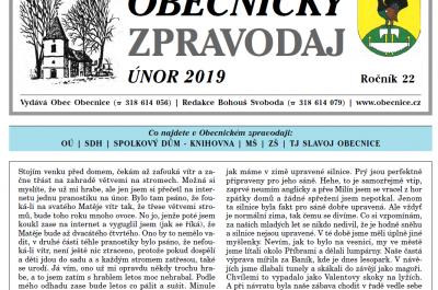 Obecnický zpravodaj – Únor 2019
