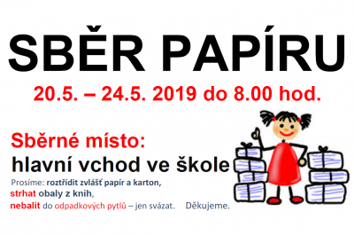 Sběr papíru 20. 5. – 24. 5. 2019