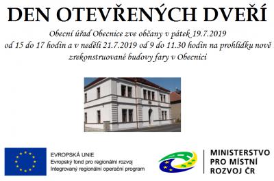 Den otevřených dveří – budova fary