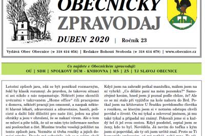 Obecnický zpravodaj – Duben 2020