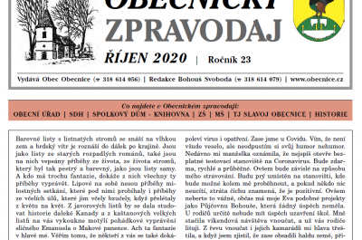 Obecnický zpravodaj říjen 2020