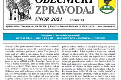 Obecnický zpravodaj – Únor 2021